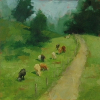 Cows on the Path-18x18 Available at Blowing Rock Frameworks and Gallery