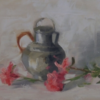 pewter-pitcher-9x12-oil-board