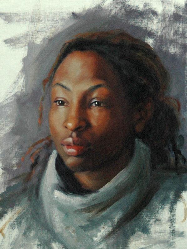 oil portrait young black woman